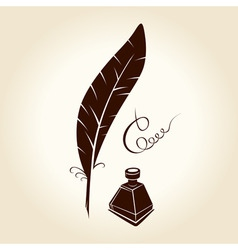 feather pen ink calligraphic letter vector image