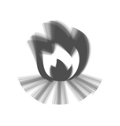Fire sign gray icon shaked at white vector