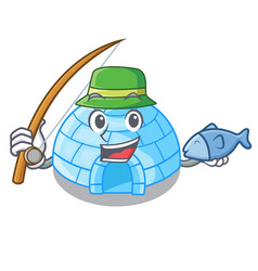 fishing igloo ice house isolated on mascot vector image