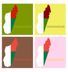 Flag map madagascar vector