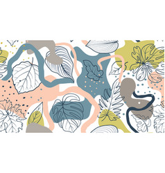 Floral seamless pattern with leaves with abstract vector