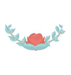 flower flora leaves decoration image vector image
