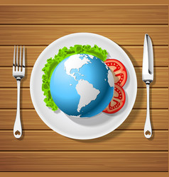 fork with knife and globe on plate vector image