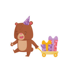 funny little bear pulling yellow cart with vector image