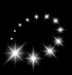 Glittering flying stars white color vector