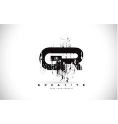 Gr g r grunge brush letter logo design in black vector