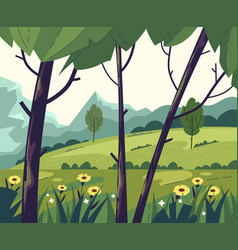 green empty tree field mountain forest nature vector image