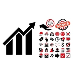 Growth Chart Flat Icon with Bonus vector image