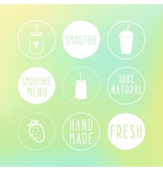 Hand drawn smoothie labels and blur background vector image