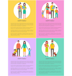 happy family set mother father daughter and son vector image
