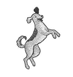 Happy jumping dog sketch engraving vector