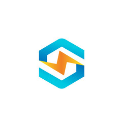 hexagon flash logo vector image