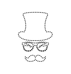 hipster accessories design black dashed vector image