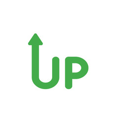 icon concept of up word with arrow moving up vector image