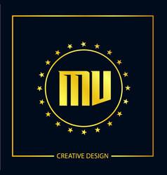 Initial letter mv logo template design vector