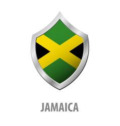 Jamaica flag on metal shiny shield vector