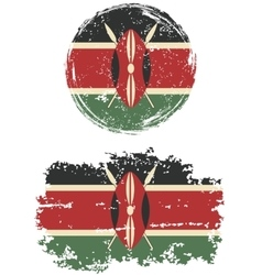 Kenyan round and square grunge flags vector image