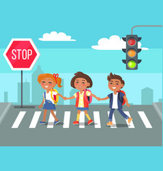 Kids crossing road in city cartoon vector