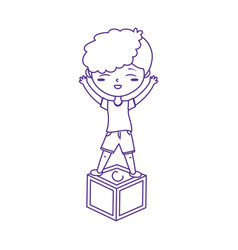kids zone boy playing on block icon design vector image