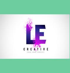 Le l e purple letter logo design with liquid vector