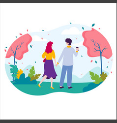 male and female walking in green city park vector image
