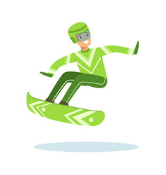 Male athlete character in sportswear jumping with vector