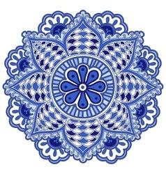 Mandala flower of circular elements Blue ethnic vector