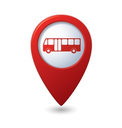 Map pointer with bus icon vector