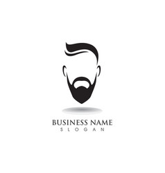 masculine beard black hair geek logo and symbol vector image