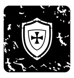 Military shield icon grunge style vector image vector image