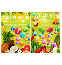 multivitamins and vitamin complex in fruits vector image