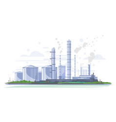 Oil refinery landscape isolated vector