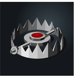 Old metalic hunter trap cartoon style isolated vector