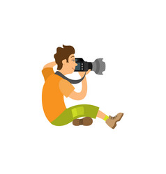 Photographer taking photo on modern digital camera vector