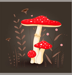 postcard with mushrooms toadstool red on a floral vector image