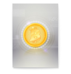 poster with virtual currency bitcoin icon of vector image