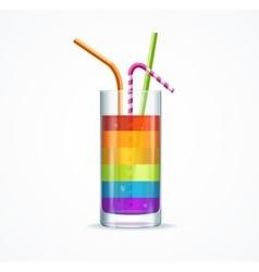 Rainbow Cocktail Glass vector image