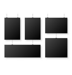 realistic blank paper sheets hanging on binder vector image