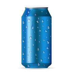 Realistic blue aluminum can with drops vector
