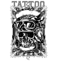 Retro human pilot skull tattoo with ribbons design vector