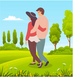 romantic couple walks in fresh air countryside vector image