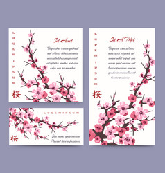 sakura blossoms cards templates vector image