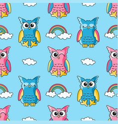 seamless pattern with cute owls and clouds vector image