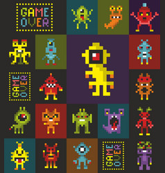 Seamless pattern with retro monsters from the vector
