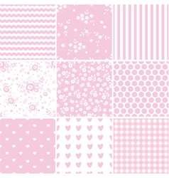set abstract pink seamless patterns vector image