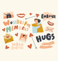 set icons embrace theme hugging friends smiling vector image