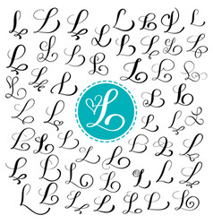 Set of hand drawn calligraphy letter l vector