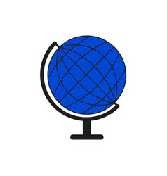 set sketch globe blue world icon vector image
