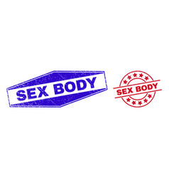 Sex body unclean stamps in round and hexagon vector
