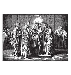 Simeon prophesies when jesus is presented at the vector